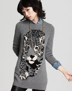 C by Bloomingdale's Cashmere Crew Neck Leopard Instaria Top | Bloomingdale's