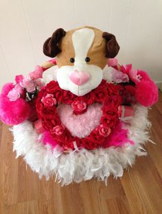 SALE Handmade Large Pink & White Fluffy Puppy Love Gift Basket by cappelloscreations, $80.00@Etsy