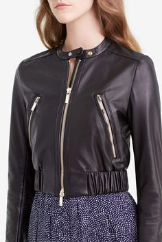 DVF Buckley Leather Bomber Jacket