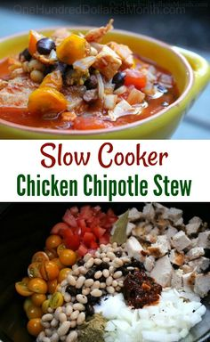 Crock Pot Chicken Chipotle Stew - One Hundred Dollars a Month Slow Cooker Chicken Stew, Slow Cooker Black Beans, Slow Cooker Meatloaf, Slow Cooker Lentils, Stew Chicken Recipe, Slow Cooker Chili, Chicken Recipes, Healthy Crockpot Recipes, Slow Cooker Recipes