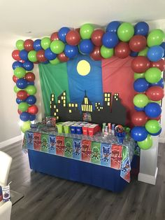 Fourth Birthday, 4th Birthday Parties, Birthday Fun, Birthday Ideas, Pj Masks Birthday Cake, Superhero Birthday Party, Pjmask Party, Party Ideas, Pj Mask Party Decorations
