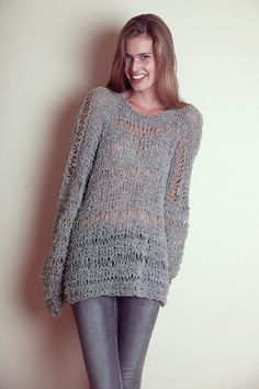 Gray HAND KNIT SWEATER Slouchy Sweater Grunge Sweater by beWoolen