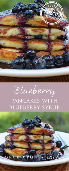 Blueberry Buttermilk Pancakes with Blueberry Maple Syrup #pancakes #blueberrypancakes #blueberrybuttermilkpancakes #maplesyrup #pancakesandsyrup