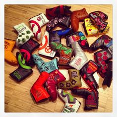 """February 26, 2013: """"This is my biggest addiction! Love the creativity and craftmanship of @Scott Cameron Have a look at the collection!,"""" said European Tour player Bernd Wiesberger (@BWiesberger) of his amazing amalgamation of Scotty Cameron putter covers."""