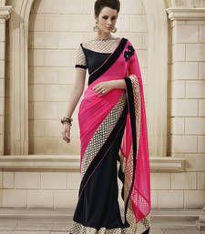Buy Awesome Pink Georgette Designer Saree karwa-chauth-saree online