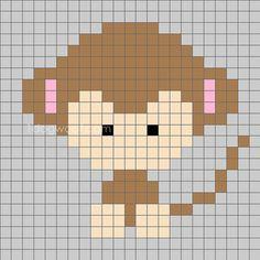 Zoodiacs Monkey Crochet Graph - One Dog Woof Pixel Crochet, Crochet Cross, Crochet Chart, C2c Crochet Blanket, Tapestry Crochet, Loom Beading, Beading Patterns, Crochet Patterns, Crochet Monkey Pattern