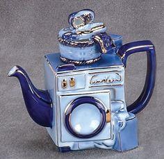 Washing Machine Teapot Cobalt Blue Porcelain