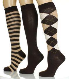 80747a5e9 Women s Knee Hi Socks - 3 PK - Size 9-11 - Venetian Stripes (Black Brown Gray)  at Amazon Women s Clothing store  Casual Socks