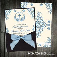 Un eterno momento comunión invitaciones - invitación de bolsillo con un marco muy decorativo y un satén pre-atado arco