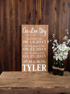 Our Love Story Personalized Sign Rustic Wedding Sign Reclaimed Wood Home Decor Date Sign Wedding Gift