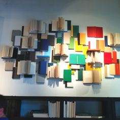 Great wall book display with discarded children's books?!?!