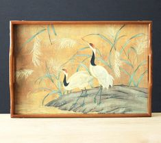 Wood Serving Tray Birds - Vintage Wooden Tray with Handles and Brass Corners