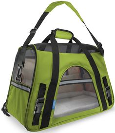 OxGord Pet Carrier Soft Sided Cat / Dog Comfort 'FAA Airline Approved' Travel Tote Bag - 2015 Newly Designed, Small, Spinach Green You could find more details by visiting the image link. (This is an affiliate link and I receive a commission for the sales) Airline Approved Pet Carrier, Airline Pet Carrier, Pet Online, Dog Carrier Bag, Gato Grande, Pet Bag, Cat Cages, Pet Travel, Travel Tote