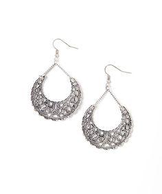 Silver Filigree Crescent Drop Earrings #zulily #zulilyfinds