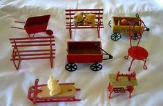8 Dollhouse Miniatures Sewing Machine Wagons Wheelbarrow Chair Benches Sled