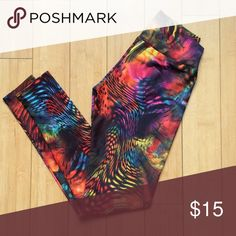 Multi-colored Leggings by Abs2b Fitness Apparel Fun multi-colored leggings! Very soft, comfortable and breathable material. Only worn once. Just like new! Abs2b Fitness Apparel Pants Leggings