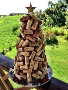 Wine Cork Christmas Tree - 2 layers of corks on a paper mache cone by katie