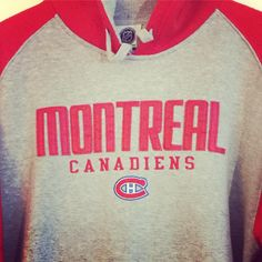 ee0bec7c Vintage Montreal Canadiens NHL Hoodie Red Gray Size L Sewn Patches