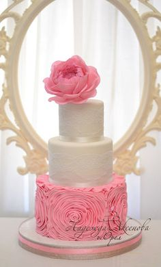 Wedding Cakes from Sugar Ruffles and flowers pink ,lace
