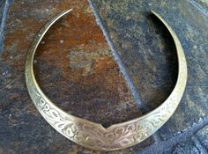Vintage Tribal Made in India Child's Size Brass Paisley Print Choker Necklace. $44.00, via Etsy.