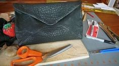 How to make an envelope clutch from leather.
