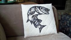 MUSKELLUNGE 12 Appliqued and Quilted Pillow by quiltingcafe, $55.00