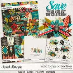 """Digital Scrapbooking kit: Wild Boyz: COLLECTION by Studio Flergs BEST VALUE! A digital scrapbooking collection by Studio Flergs. """"We're all a little WILD inside"""" Celebrate your wild boys (and girls) with this gorgeous new kit from Studio Flergs. Bright vibrant colours and fun elements will make this kit a fan favourite. Don't let the name fool you, this kit is also fabulous for your wild girls too."""