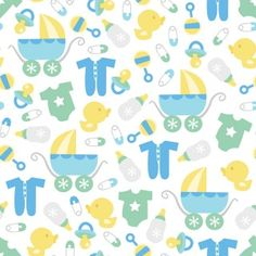 A vector illustration of a cute retro baby boy theme seamless pattern background. Paper Scrapbook, Baby Scrapbook, Baby Clip Art, Baby Art, Nursery Patterns, Baby Patterns, Baby Boy Background, Baby Boy Themes, Baby Theme