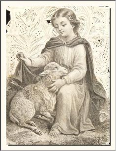 """LATE 1800's FRENCH """"AGNUS DEI LAMB"""" CANIVET LACE HOLY CARD . VISIT MY STORE !!!"""