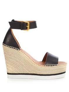 SEE BY CHLOÉ Leather espadrille wedge sandals. #seebychloé #shoes #sandals