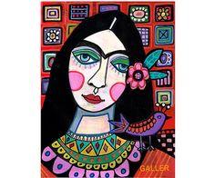 Frida Kahlo Original Painting by Heather Galler Mexican Folk Art Talavera Tiles Bird