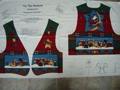 Christmas Vest Fabric Panel/ Leslie Beck for V.I.P Fabrics Cranston Prints Work Co. Tis The Season Holiday Vest Adult Size: 8-10 12-14 16-18