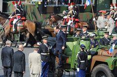 Francois Hollande arrives at the Bastille Day parade on the Champs Elysees on July 14, 2013 in Paris, France.