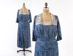 Vintage EDWARDIAN DRESS / 1910s Blue Silk Day Dress S - M
