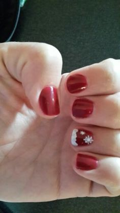 My christmas nails. Loving the colour