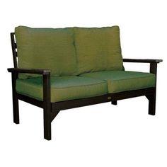 Highwood USA LLC. AD-DSLS3-BKE Pocono Deep Seating love-seat - black with Sunbrella dupione palm cushions.