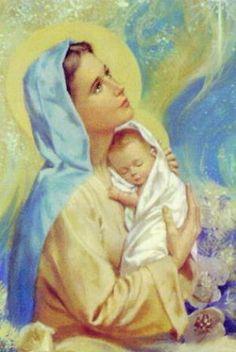 Violeta - Iconografia religiosa - Virgen-nino12gg Divine Mother, Blessed Mother Mary, Blessed Virgin Mary, Jesus Mother, Mother Mary Images, Images Of Mary, Bing Images, Catholic Art, Religious Art