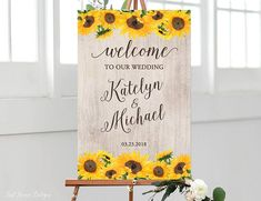Sunflowers Wedding Welcome Sign Rustic Welcome Wedding Sign
