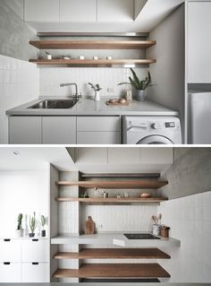 18 trendy kitchen storage ideas for small spaces shelves washer and dryer Small Apartments, Small Spaces, Grey Kitchen Designs, Design Kitchen, House Shelves, Wall Shelves, Kitchen Pictures, Kitchen Layout, Kitchen Ideas