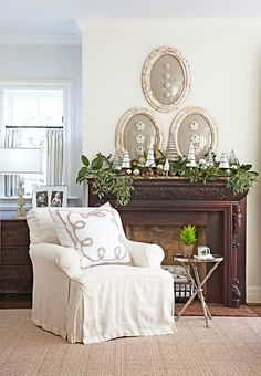 Love the shells in the antique oval frames.  Have two of these frames with curved glass.  So doing this!