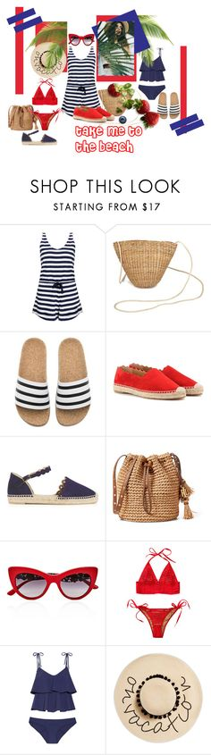 """Take Me To The Beach!"" by lheijl ❤ liked on Polyvore featuring Solid & Striped, adidas, Chloé, Castañer, Dolce&Gabbana, Beach Bunny, Lisa Marie Fernandez and August Hat"
