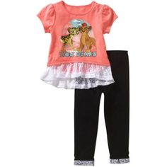 Lion Guard Toddler Girl Ruffle Hem Tee and Legging Outfit Set, Size: 25 Months, Pink