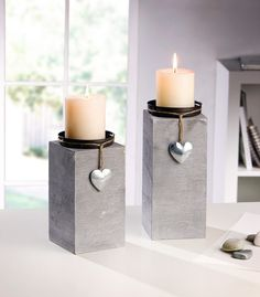 "Candle holder ""Little Heart"" in a set of 2 … - Trend Garden Decoration Cement Art, Concrete Crafts, Concrete Projects, Concrete Furniture, Concrete Pots, Concrete Design, Diy Luminaire, Concrete Candle Holders, Papercrete"