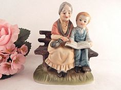 Woman and Child Reading Figurine Grandmother by TKSPRINGTHINGS