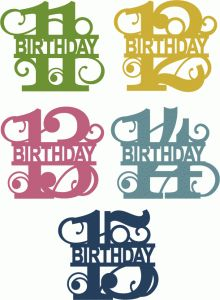 Silhouette Design Store - View Design #66656: split flourish birthday numbers 11-15