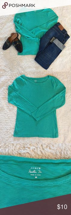 J Crew long sleeve painter tee J Crew green painter tee. Made from slub cotton. Super soft. Heathered look. Cotton. Barely worn, in excellent condition. Offers are welcome - please use offer button. J. Crew Tops Tees - Long Sleeve