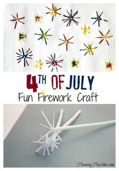 Fun 4th of July Fireworks Craft using plastic straws and paint.  #4thofJuly #craft #kids #fireworks #painting