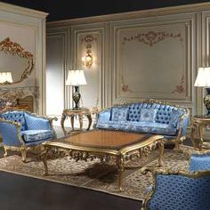 Living room made in Italy Eighteenth Century, made and carved by hand in Italy, inspired to realms and palaces of the Eighteenth Century | Vimercati Classic Furniture