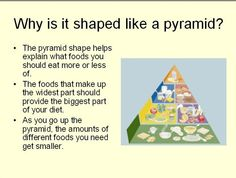 An Introduction to the Food Pyramid - This Power Point Presentation is an introduction to the food pyramid for preschool - first grade. It explains the purpose of the food pyramid, why it is a pyramid shape, each of the food groups, and includes a review slide which contains links to online, interactive sites where children can further explore the pyramid and play interactive review games. http://www.teacherspayteachers.com/Product/An-Introduction-to-the-Food-Pyramid-351470