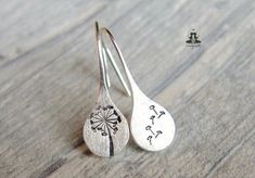 925 Sterling Silver earrings - hand stamped dandelions #SilverJewelry